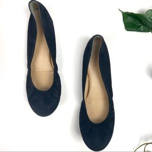 J Crew suede leather upper flats black size 8